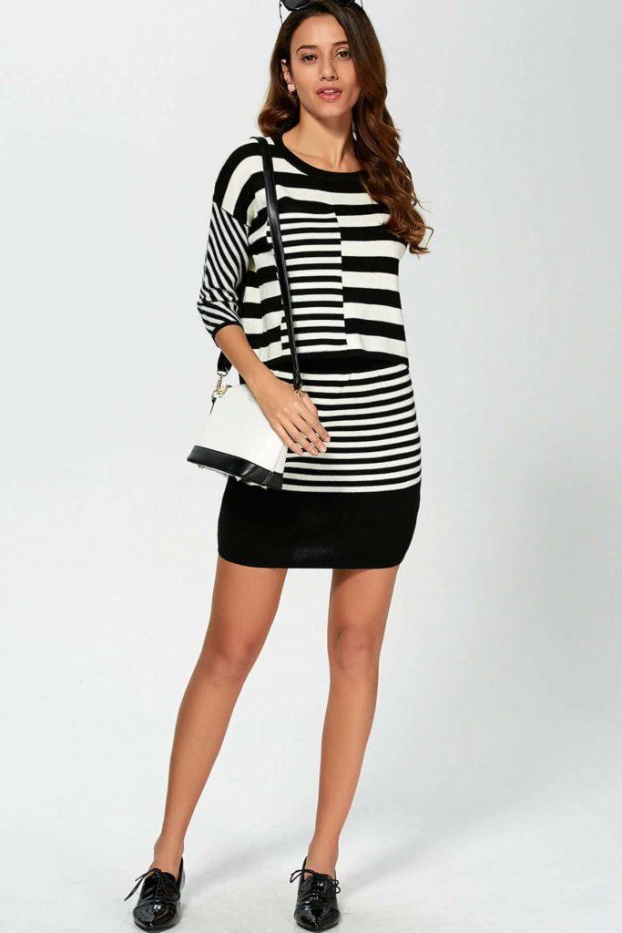 rochie pulover cu dungi