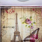 perdea de duș mai ieftină cu turnul Eiffel si fluture Newchic