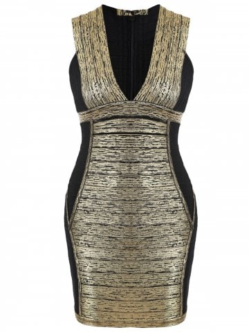 bandage dress black and gold