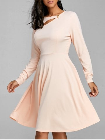 long sleeve dress apricot A line