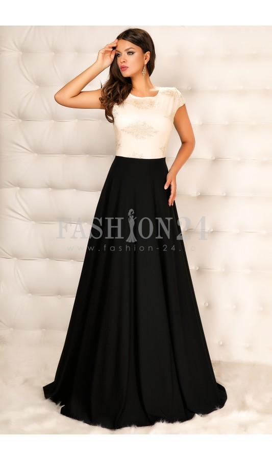 rochie de ocazie elegantă alb-negru