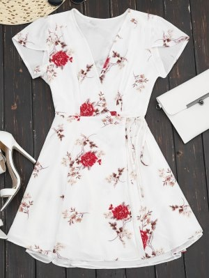 White Plunge Cap Sleeve Floral Wrap Dress